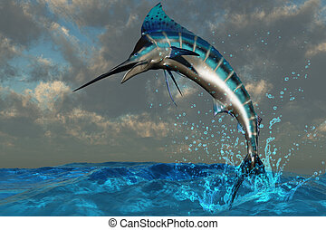 Blue Marlin Splash - A spectacular Blue Marlin flashes its...
