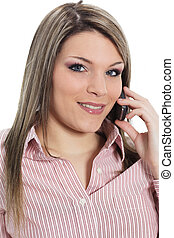 young beautiful woman calling on the phone