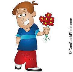 boy holding flowers - Cartoon boy holding flowers isolated...