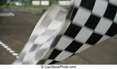 Race Checkered Flag waving - Waving Race Checkered Flag....