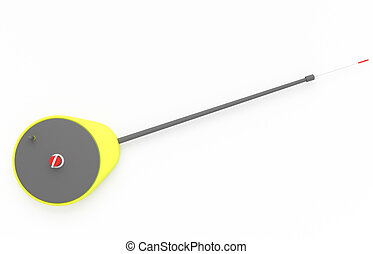 Ice fishing rod over white background. 3d rendered image
