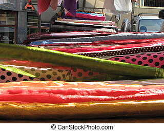 colorful textile at market - These somewhat exotic textile...