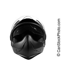Black Helmet - Black biker helmet isolated over white...