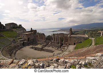 Taormina greek amphitheater in Sicily Italy - Taormina greek...