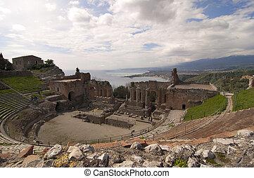 Taormina greek amphitheater in Sicily Italy - Taormina greek...