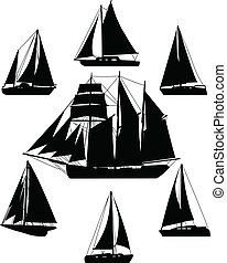 Sailing boats silhouettes - vector