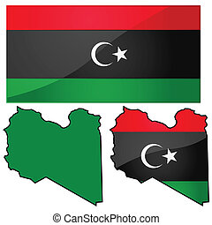 Map and flag of Libya - Glossy illustration showing map of...