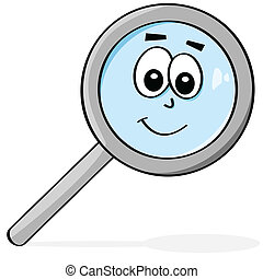 Happy magnifying glass - Cartoon illustration of a...