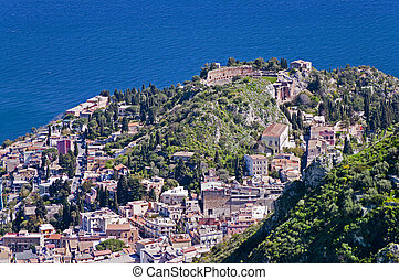 Taormina town in Sicily Italy - Town of Taormina in Sicily...