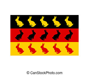 Flag of Germany with easter bunnys