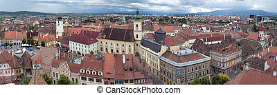 Panorama of old town Sibiu in Transylvania Romania: Council...
