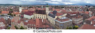 Panorama of old town Sibiu in Transylvania Romania: Council...