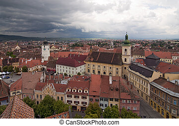 Dramatic skies over historical center of Sibiu Transylvania...