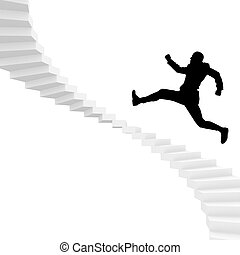 man runing up stairs