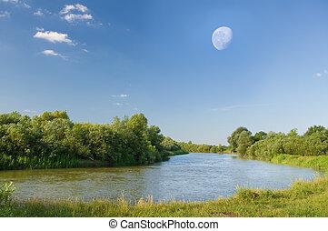 sommer, Fluß, aus, Mond