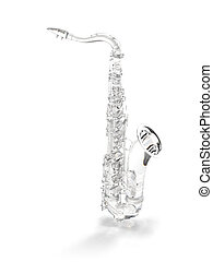 Crysral saxophone on white - Crysral, brilliant piano...