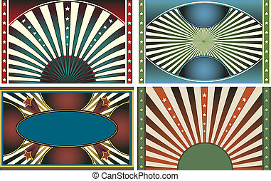 Set of 4 Retro Vector Design Webpage Backgrounds Collection