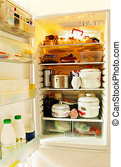 Open fridge - opened refrigerator inside full of various...