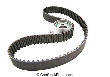 timing belt isolated with clipping path tensioner pulley