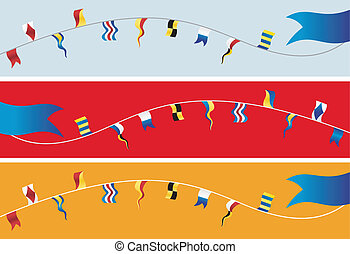 Banner of nautical flags. - Set of banner navigation flags....