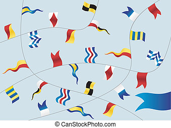 Set of nautical flags - Navigation flags on light blue...