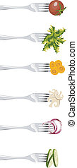 Forks and vegetables. - Six forks with different vegetables...