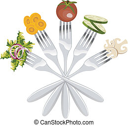 Isolated forks with vegetables - Five forks with different...
