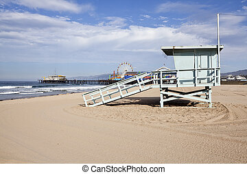 Santa Monica Beach and Pier - Santa Monica beach, pier and...