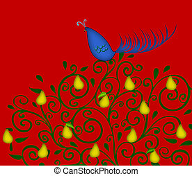 Partridge in a Pear Tree on Red - Christmas illustration of...