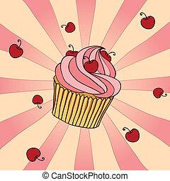Yummy Cupcake - Hand drawn cupcake with cherries. EPS 8 CMYK...