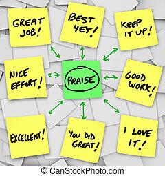 Elogio, positivo, revisões, Comments, pegajoso, notas