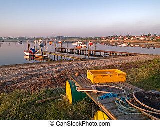 típico, pescadores, aldea, Funen, Dinamarca