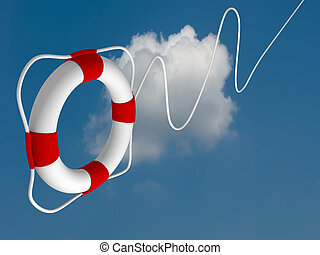 Flying life preserver for first help- this is a 3d render...