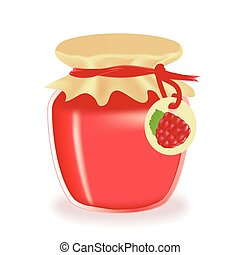 Jar of raspberry jam isolated