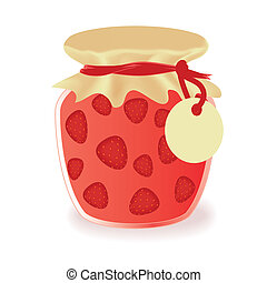 Vector jar of strawberry jam