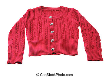 Red Baby Cardigan on White Background