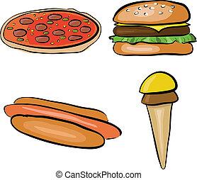 doodle fastfood - doodle set - fastfood