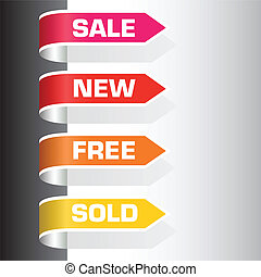 sale labels - set of labels - sale, new, free, sold