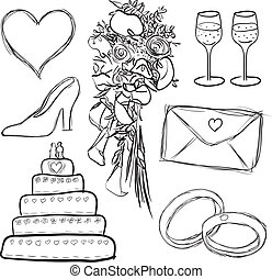 wedding set - doodle wedding set