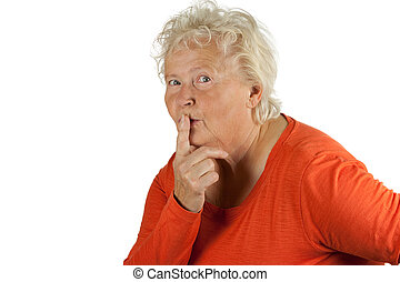 senior woman is asking for silence