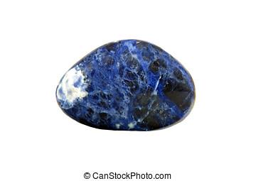 Sodalite gem stone isolated on white background