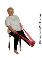 Senior woman with a fitness band on white background