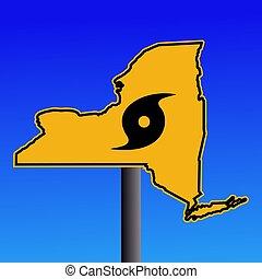 Novo, York, aviso, sinal, furacão