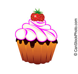 Cupcake with strawberries - Cupcake with strawberries and...