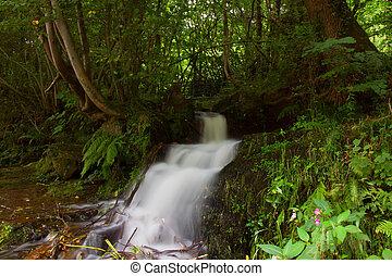 waterfall below aquaduct at Trefor basin, north wales.