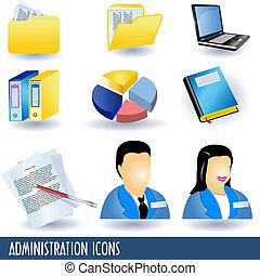 administração, ícones