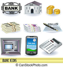 Bank Icons - Collection of nine bank color icons isolated on...