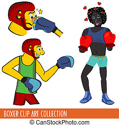 boxer clip art collection - Three clip art illustrations of...