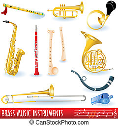 Brass music instruments - A color collection of brass wind...