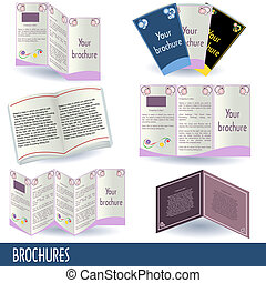 Brochures - Collection of 6 different brochure icons...
